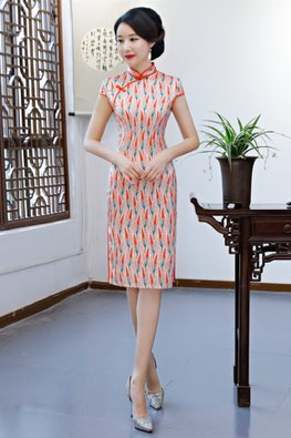 Orange Mandarin Collar Cap Sleeves Feather Print Cheongsam