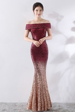 Brownish Red/Blue Off-Shoulder Ombre Sequin Mermaid Gown