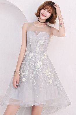 Grey Illusion Neckline Sleeveless Floral Embroidery Hi-Lo Dress