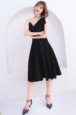 Assorted Colours Asymmetrical Neckline Sleeveless A-line Dress