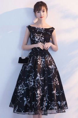 Black Bateau Neckline Floral A-line Dress