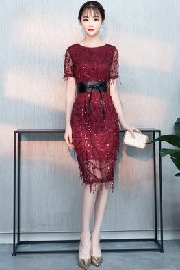 Assorted Colours Bateau Neck Illusion Sleeves Beaded Embellishments Sheath Dress