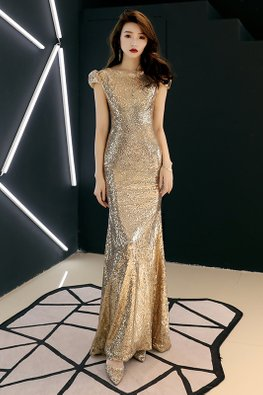 Gold Bateau Neckline Puff Cap Sleeves Mermaid Gown