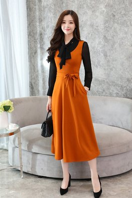Black / Khaki Orange Ribbon Bow A-line Dress