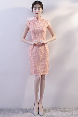Peach Pink Mandarin Collar Cap Sleeves Lace Cheongsam