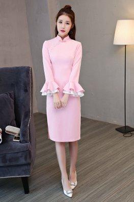 Pink Mandarin Collar Trumpet Lace Sleeves Cheongsam