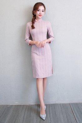 Pink Mandarin Collar 3/4 Sleeves Cheongsam
