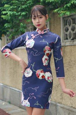 Blue Pink Mandarin Collar Abstract Floral Print Cheongsam