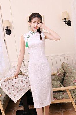 White Green Mandarin Collar Lace Cheongsam