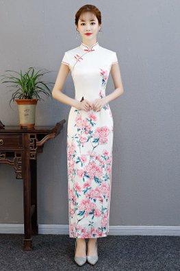 White Mandarin Collar Butterfly Floral Print Cheongsam