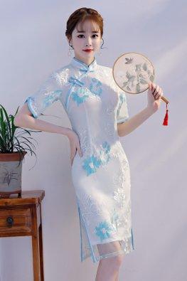 Blue/Pink Mandarin Collar Floral Embroidery Cheongsam