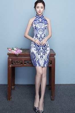 Blue Mandarin Collar Keyhole Abstract Print Cheongsam