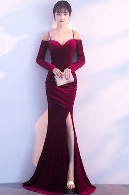 Assorted Colours Sweetheart Open Shoulder High-Slit Floor Length Mermaid Gown
