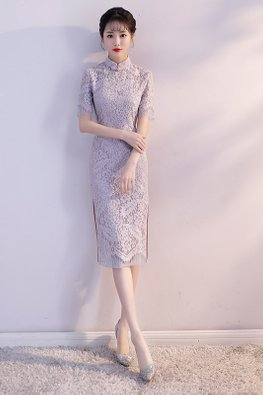 Pastel Purple Mandarin Collar Side Slit Lace Cheongsam