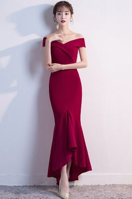 Assorted Colours Off-Shoulder Mermaid Hi-Lo Gown