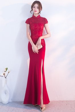 Wine Red Mandarin Collar Cap Sleeves High Slit Mermaid Cheongsam (Express)
