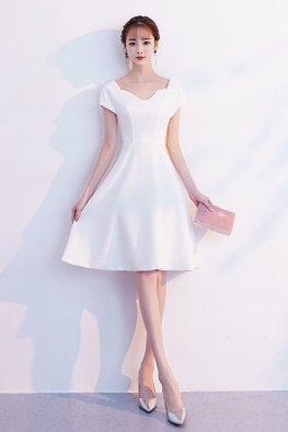 White Cap Sleeves A-line Dress (Express)