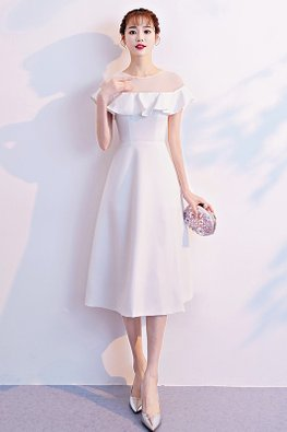 White Illusion Round Neckline Ruffle Sleeves A-line Dress