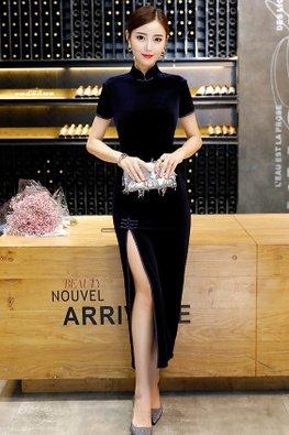 Assorted Colours Mandarin Collar High Slit Velvet Cheongsam