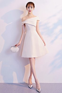 Champagne White One-Shoulder A-line Dress