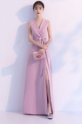 Pink V-Neck Lapel Collar High-Slit Floor Length A-line Gown