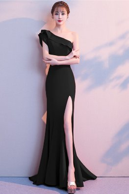 Assorted Colours One-Shoulder High-Slit Floor Length Mermaid Gown