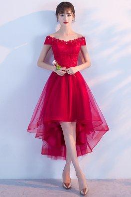 Red/Black Gem Off-Shoulder Hi-Lo Gown