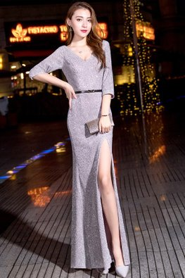 Grey V-Neck Elbow Sleeves High-Slit Floor Length Gown