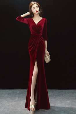Assorted Colours V-Neck 3/4 Sleeves High-Slit Floor Length Gown