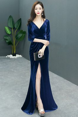 Blue V-Neck 3/4 Sleeves High-Slit Floor Length Gown (Express)