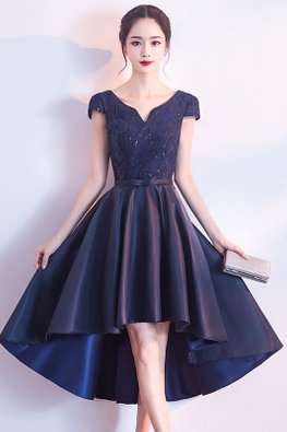 Navy Blue/Red V-Neck Cap Sleeves Open Back A-line Hi-Lo Gown