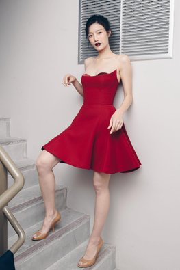 Red Peekaboo A-Line Dress