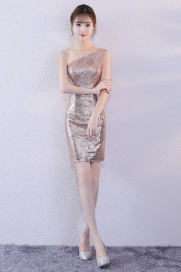 Rose Gold One-Shoulder Sequin Mini Dress