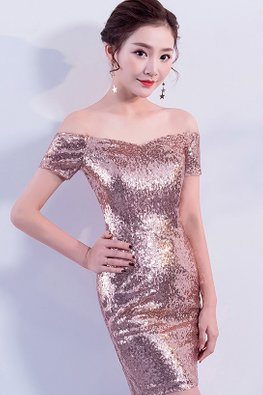 Rose Gold Off-Shoulder Sequin Mini Dress
