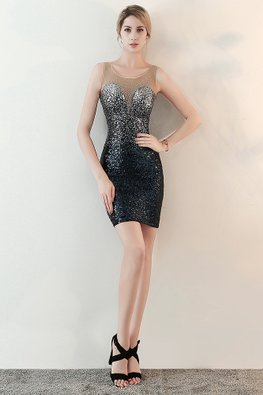 Blue/Purplish Red Illusion Neckline Sweetheart Sequin Dress