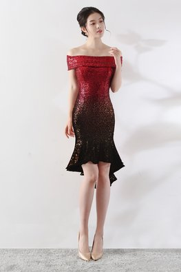 Red Black Off-Shoulder Ombre Sequin Hi-Lo Mermaid Dress