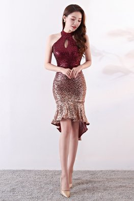 Brownish Red/Blue Halter Keyhole Neckline Ombre Sequin Mermaid Hi-Lo Dress