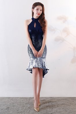 Blue Halter Keyhole Neckline Ombre Sequin Mermaid Hi-Lo Dress (Express)