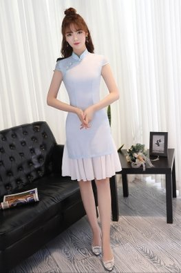 Blue Mandarin Collar Cap Sleeves Cheongsam (Express)