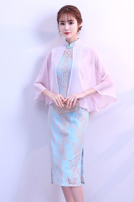 1-Pc Blue Pink Mandarin Collar Cape Sleeves Cheongsam