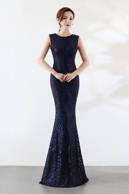 Assorted Colours Round Neck Sequin Floor Length Mermaid Gown
