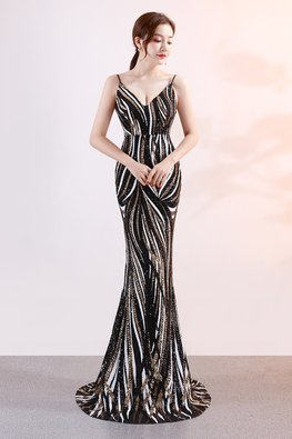 Assorted Colours V-Neck Strip Sequins Mermaid Gown