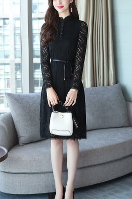 Black / Wine Red Button Long Sleeves Lace Dress