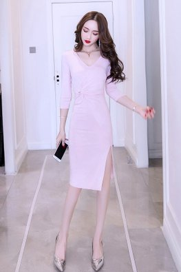 Pink / Black V-Neck 3/4 Sleeves Tie Front Slit Dress