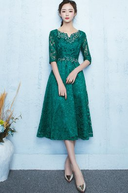 Green Illusion Elbow Sleeves Lace A-Line Dress