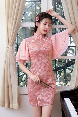 Pink Butterfly Sleeves Lace Cheongsam