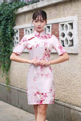 Assorted Colours Red Beaded Floral Cheongsam