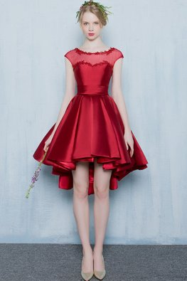 Red Illusion Neckline Cap Sleeves Satin Hi-Lo Gown