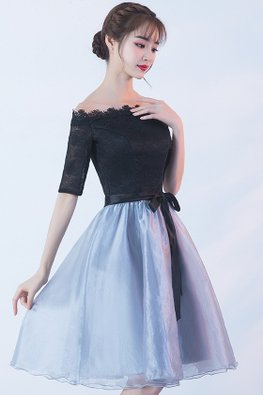 Black Silver Off-Shoulder Ribbon Elbow Sleeves A-Line Dress