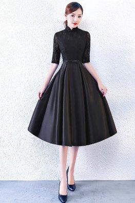 Black / Midnight Blue Mandarin Collar Elbow Sleeves Satin A-Line Gown